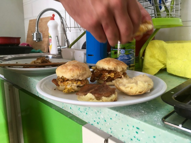 That one time we found pork and made egg biscuit breakfast sandwiches.