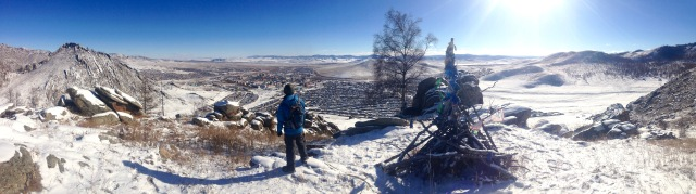 View of Our Town from the Ovoo on a hill, from that time I got so housebound I agreed to go hiking in the snow.