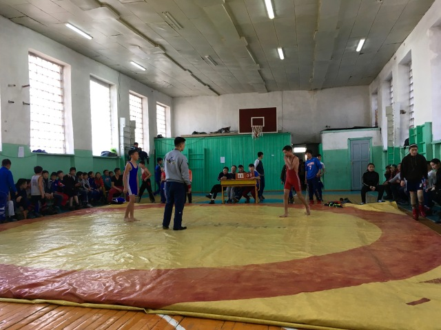 During a weekend judo competition  in the school gym.